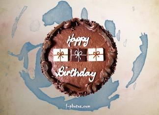 Картичка със шоколадова торта за рожден ден